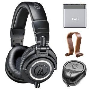 $134免税包邮铁三角 ATH-M50X 专业监听耳机& Fiio A1耳放套装