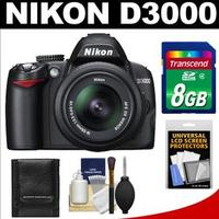 $279Nikon D3000 Black 10.2 MP DX-Format Digital SLR Camera with AF-S DX NIKKOR 18-55mm f/3.5-5.6G VR Lens (refurbished)