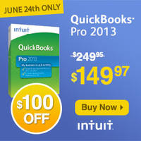 Today Only! (6/24) 40% Off只限今天(6/24) Intuit Small Business: QuickBooks Pro.软件六折促销