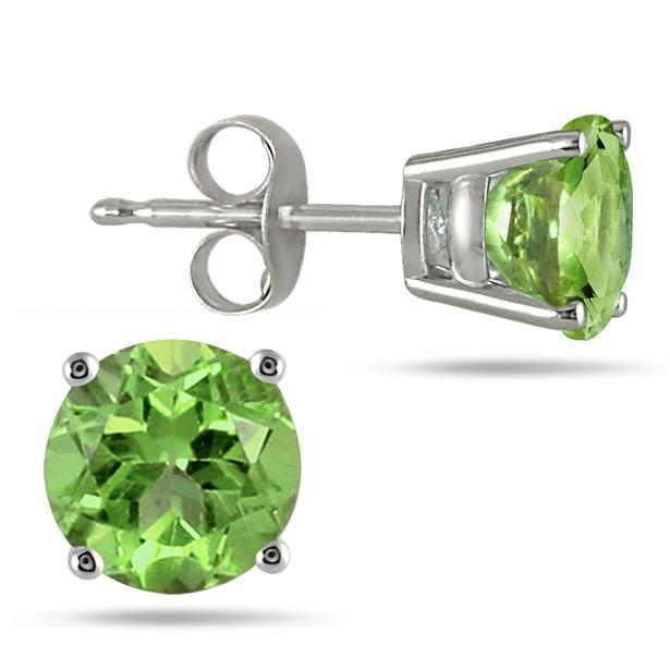 $165MM All Natural Round Peridot Stud Earrings in .925 Sterling Silver