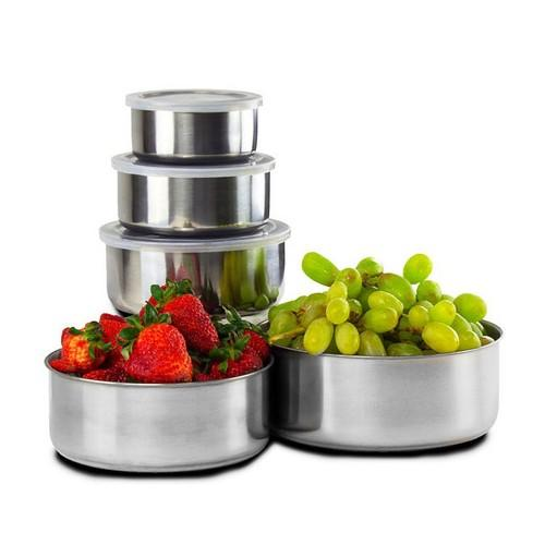 $8Home Solutions Stainless Steel Storage Bowl Set with Clear Plastic Lids