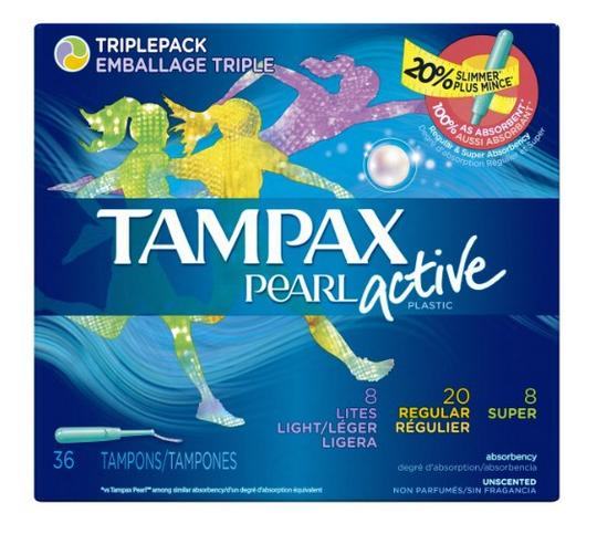 $6.99 Tampax Pearl Active Plastic Triplepack Light/Regular/Super Absorbency, Unscented Tampons, 36 Count