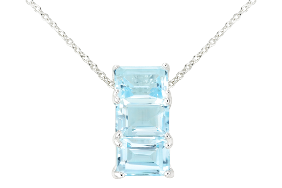 $305 3/8 carat blue topaz sterling silver pendant w/chain + free shipping