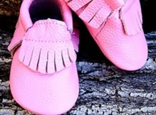 $14Two Toned Bow and Fringe Leather Baby Moccs