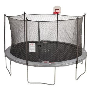$149Jump Zone 14 foot Round Trampoline and Double Net Enclosure with Dunkzone Hoop