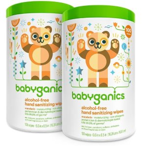 $6.34Babyganics Alcohol Free Hand Sanitizer Wipes, Mandarin, 100 Count Canister (Pack of 2)