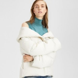 $237Theory Off-The-Shoulder Short Puffer