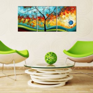 $13Ode-Rin Art - Modern Abstract Landscape Tree 3 Pieces Wall Art Artwork Blue Framed Giclee Canvas Prints for Living Room Home Decor, Ready to Hang - 36x16 Inch