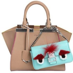Extra 30% OFFFENDI MICRO BAGUETTE MONSTER LEATHER BAG