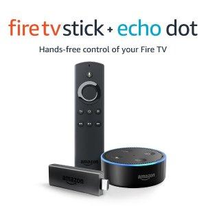 $59 Amazon Fire TV Stick with Alexa Voice Remote + Echo Dot