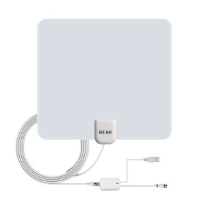 $8Amplified HDTV Antenna 50 Mile Range with Detachable Amplifier USB Power Supply (White)