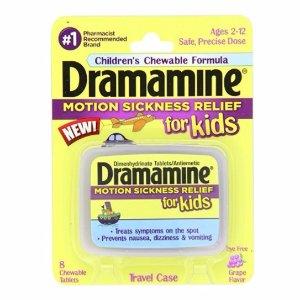 $3.37 包邮Dramamine 儿童缓解晕车晕机药 葡萄味 8个