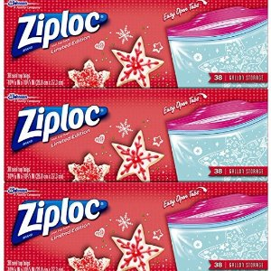 $10Ziploc Limited Edition Holiday Storage Bags, Gallon, 114 Count