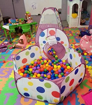 $29EocuSun Polka Dot 3-in-1 Folding Kids Play Tent with Tunnel, Ball Pit and Zippered Storage Bag