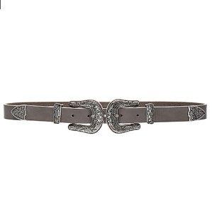 $83(原价$138) 收Kendall最爱必备品B-Low the Belt 女式灰色真皮窄款银扣腰带