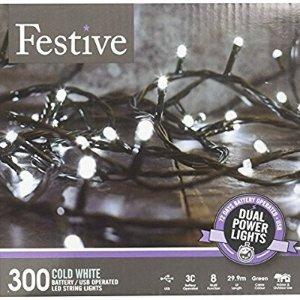 $1.57白菜价:Festive LED 装饰灯串 100颗